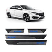 Kit Soleira de Porta Com LED Honda Civic 2017 em diante Inox Iluminada SOL008