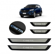 Kit Soleira de Porta C/ LED  Hyundai Creta Inox Iluminada