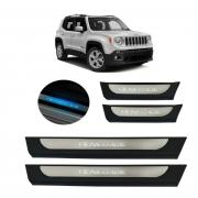 Kit Soleira de Porta C/ LED Jeep Renegade Inox Iluminada