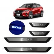 Kit Soleira de Porta Com LED Nissan Kicks 2021 em diante Inox Iluminada
