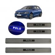 Kit Soleira de Porta Com LED Volkswagen Polo 2017 em diante Inox Iluminada SLA889