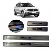 Kit Soleira de Porta Com LED Volkswagen T-Cross Inox Iluminada SLA887