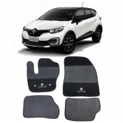 Tapete Carpete Renault Captur Preto Bordado Grafia Original
