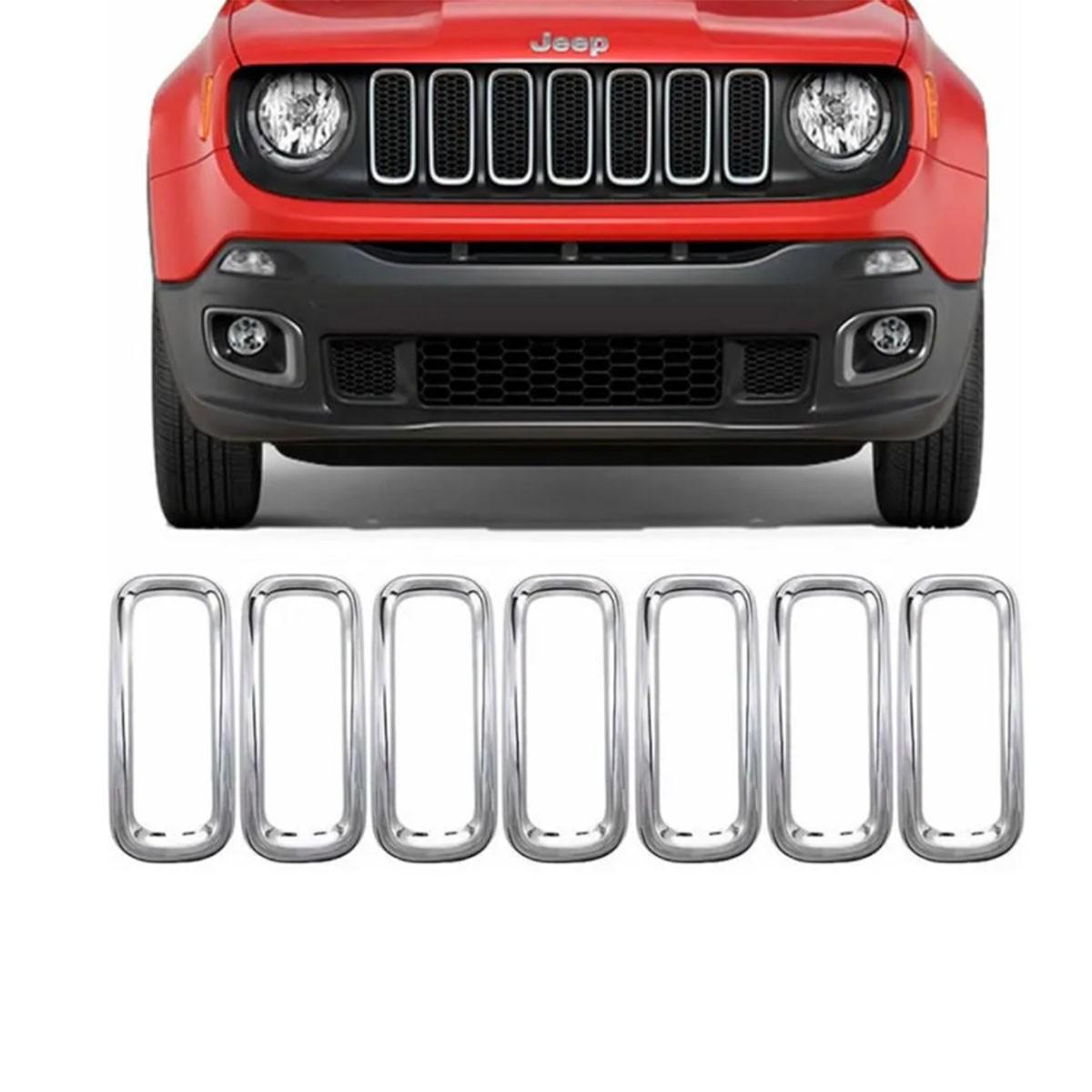 Aplique Aro Moldura Cromado Grade Jeep Renegade 2019 em diante