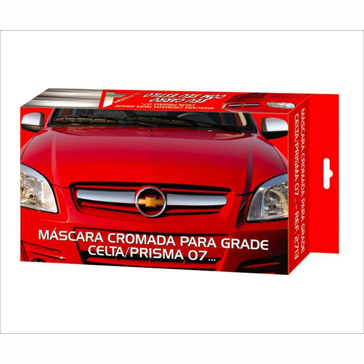 Aplique Máscara Cromado Grade Dianteira Celta e Prisma 2006 a 2012