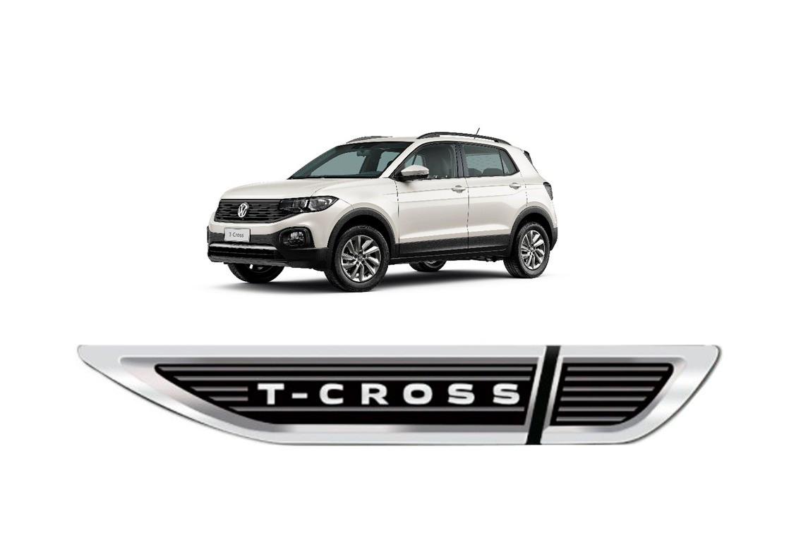 Aplique Tag Lateral Resinado Emblema Volkswagen T-Cross 2019 em diante