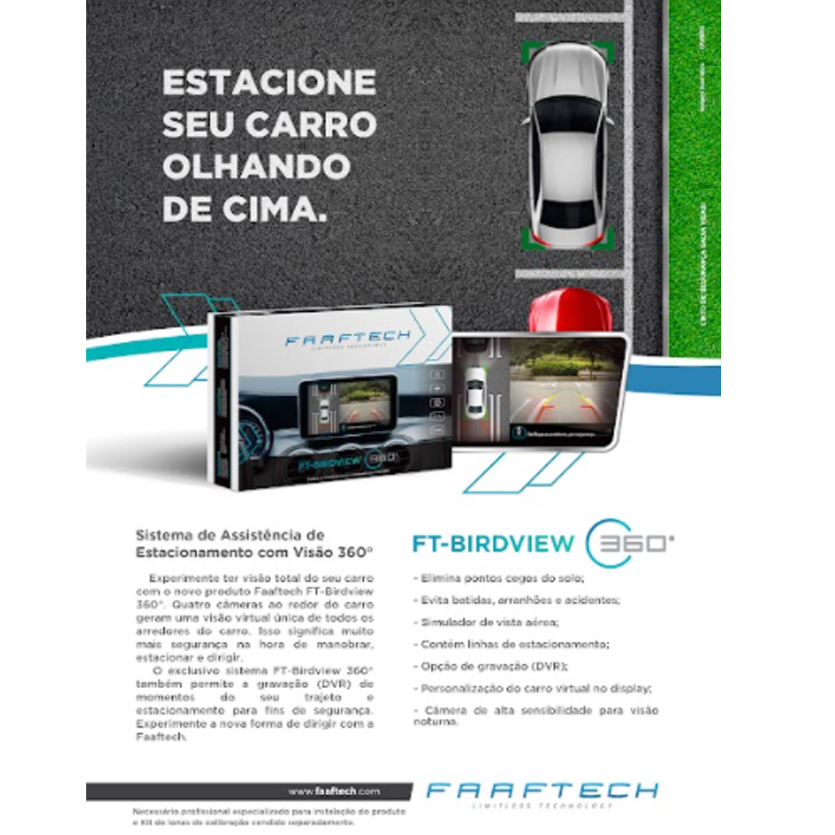 Câmera Automotiva Visão Panorâmica 360° Faaftech FT-BIRDVIEW