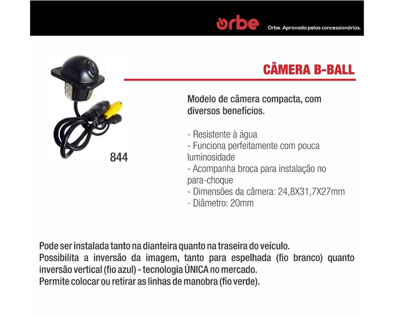 Câmera de Ré Automotiva Modelo Tartaruga Colorida Orbe