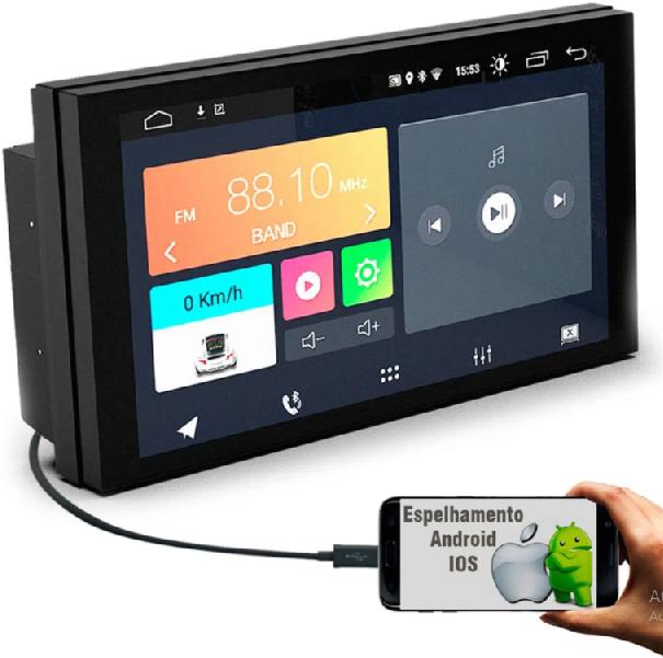 "Central Multimidia Universal Android 7"" com 2 USB Bluetooth Espelhamento Google Play Faaftech"