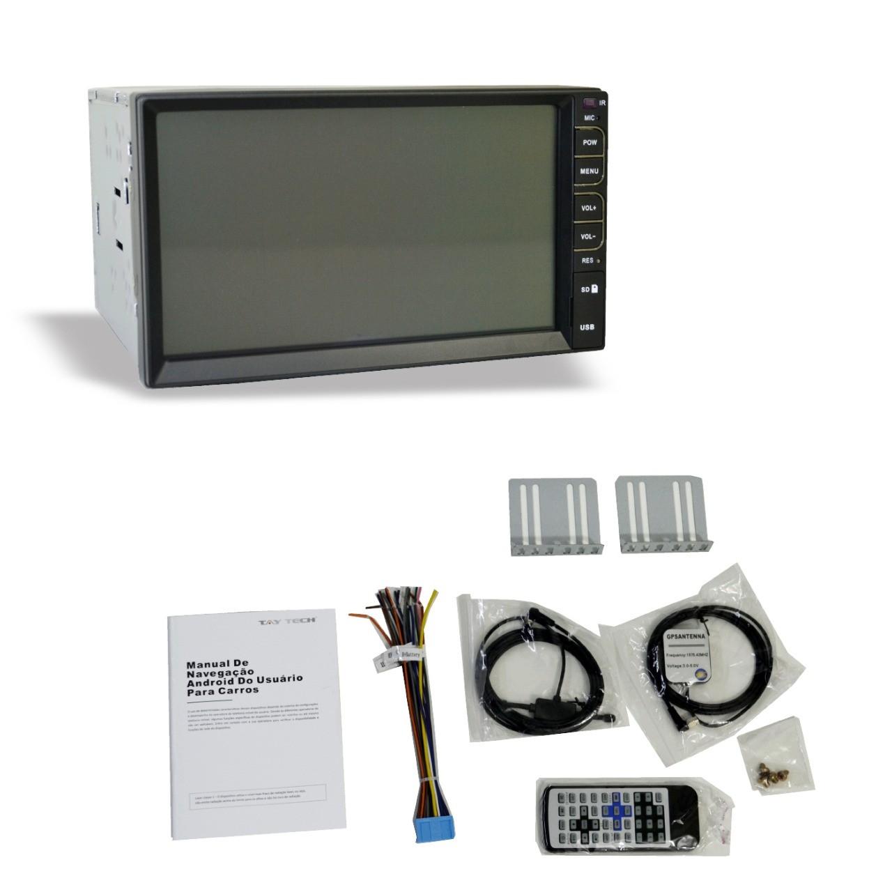 Central Multimídia Universal  T100 Plus GPS TV Digital  7 Polegadas Espelhamento Taytech