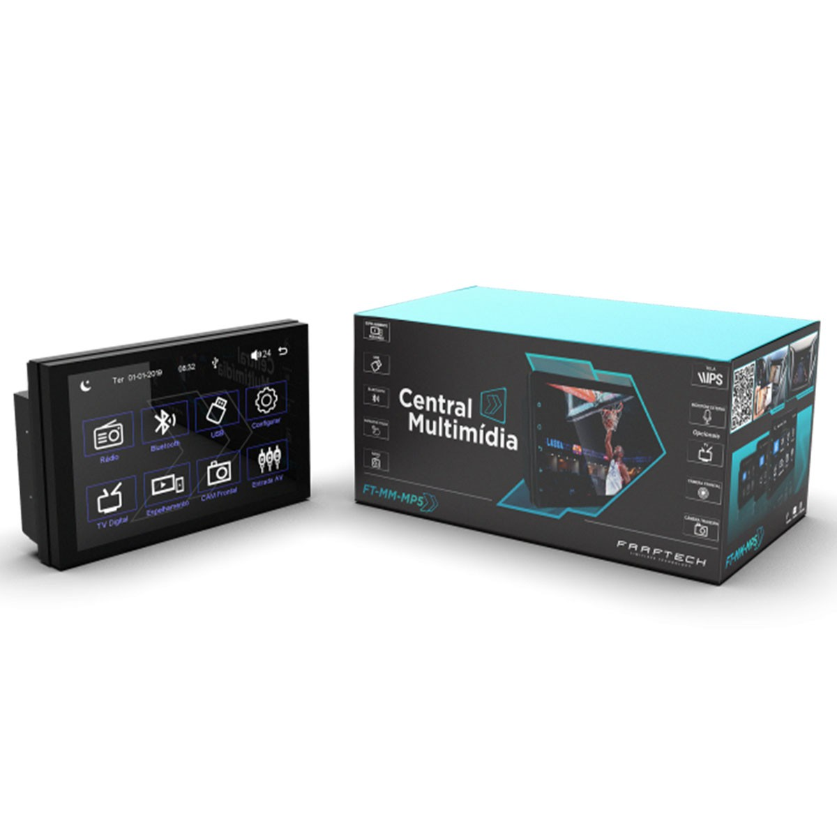 "Central Multimidia Universal Tela de 7"" MP5 Touch Screen Bluetooth 4.0  - FT-MM-MP5"