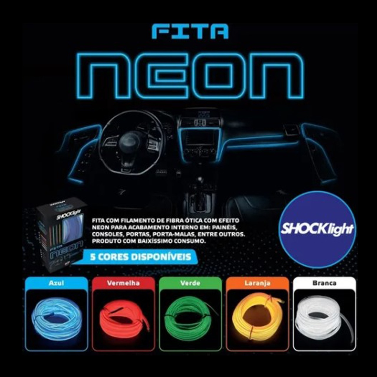 Fita de Led Luz Interna Neon Vermelho 1 Metro Shocklight