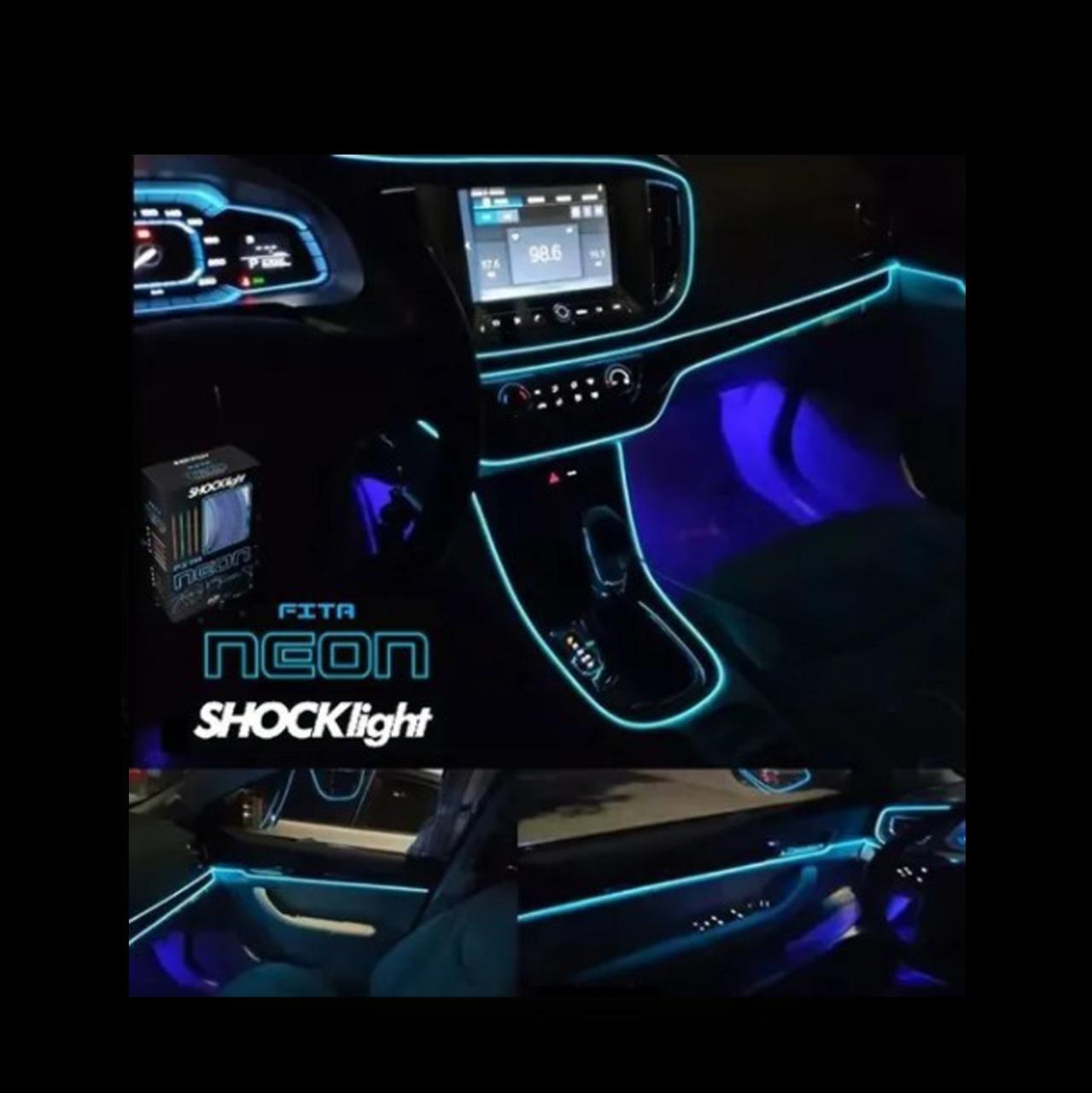 Fita de Led Luz Interna Neon Azul 1 Metro Shocklight