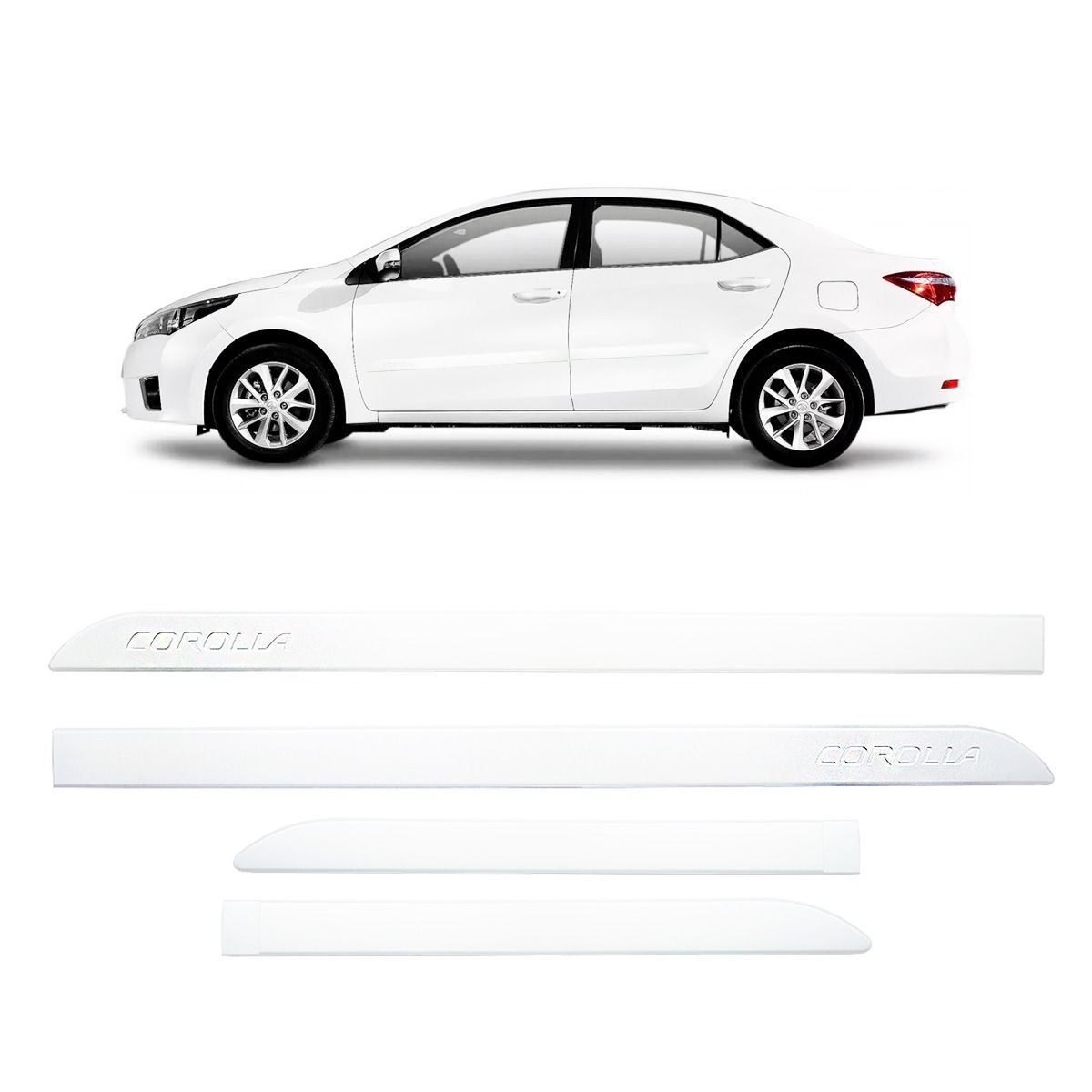 Friso Lateral Corolla Branco Polar 2015 a 2018 Mod Original