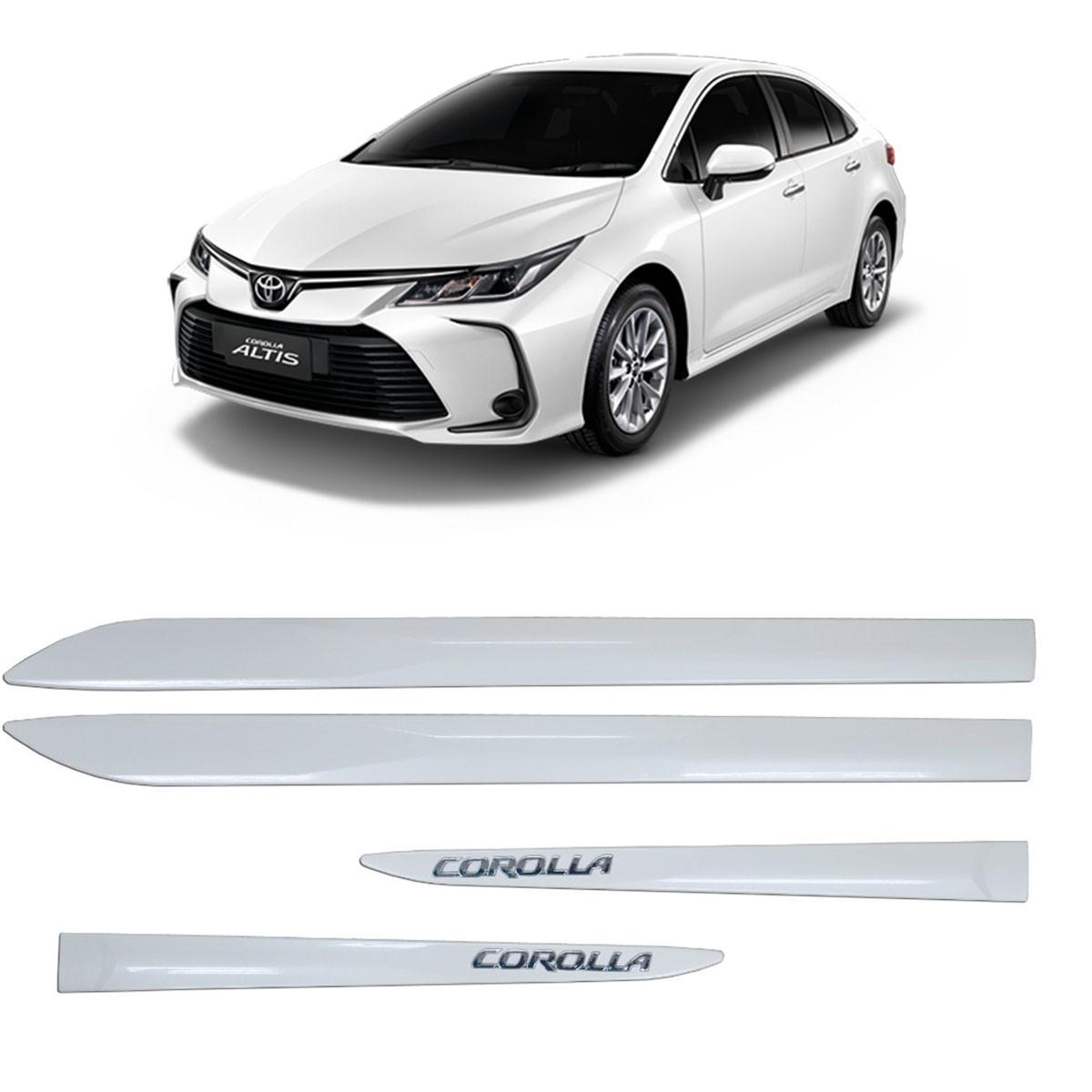 Friso Lateral Corolla Branco Polar C/Escrita Cromada Modelo 2020 Original