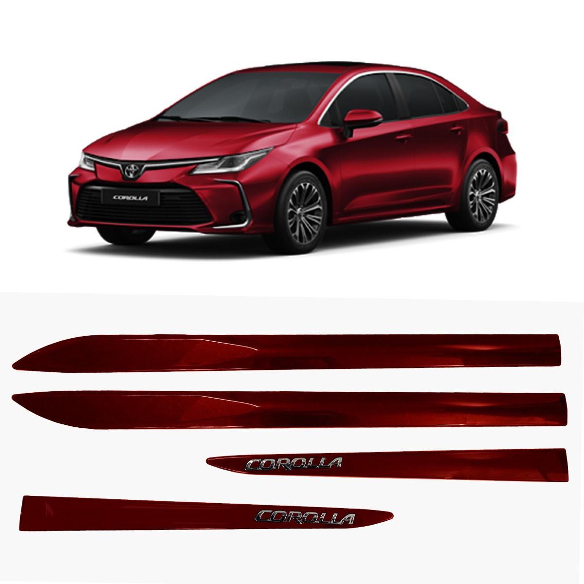 Friso Lateral Corolla Vermelho Granada C/Escrita Cromada Modelo 2020 Original