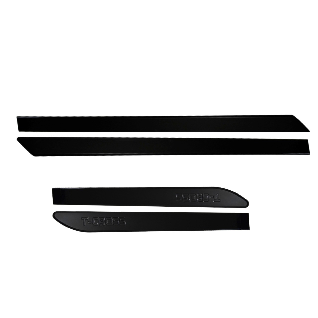 Friso Lateral T-Cross Preto Ninja com nome em baixo relevo