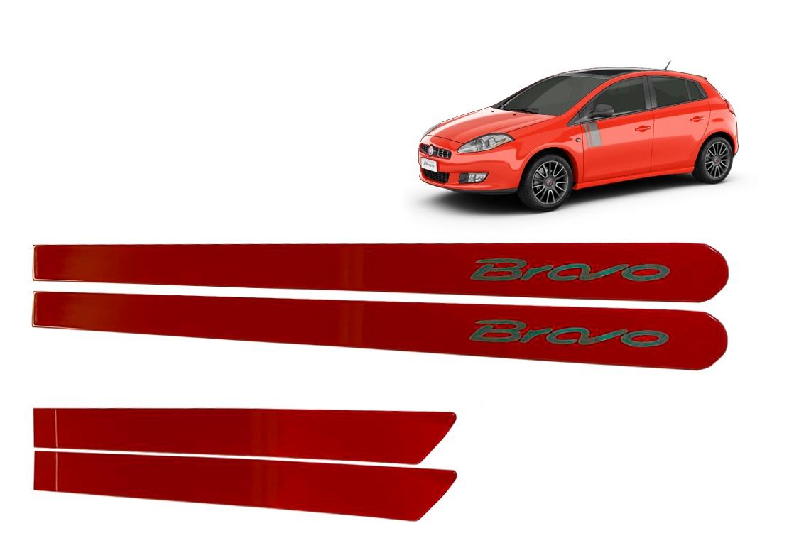 Jogo Friso Lateral Fiat Bravo Vermelho Moderna Personalizado