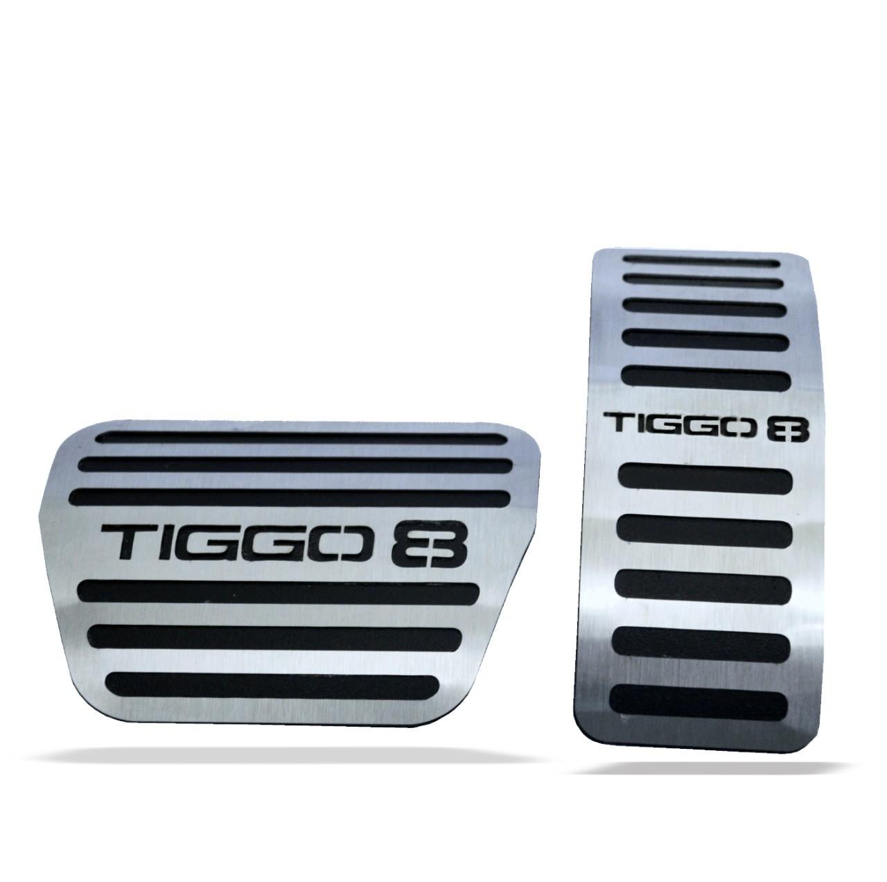 Soleira Resinada Premium Elegance + Descanso de Pé + Pedaleira em Aço Inox Tiggo 8