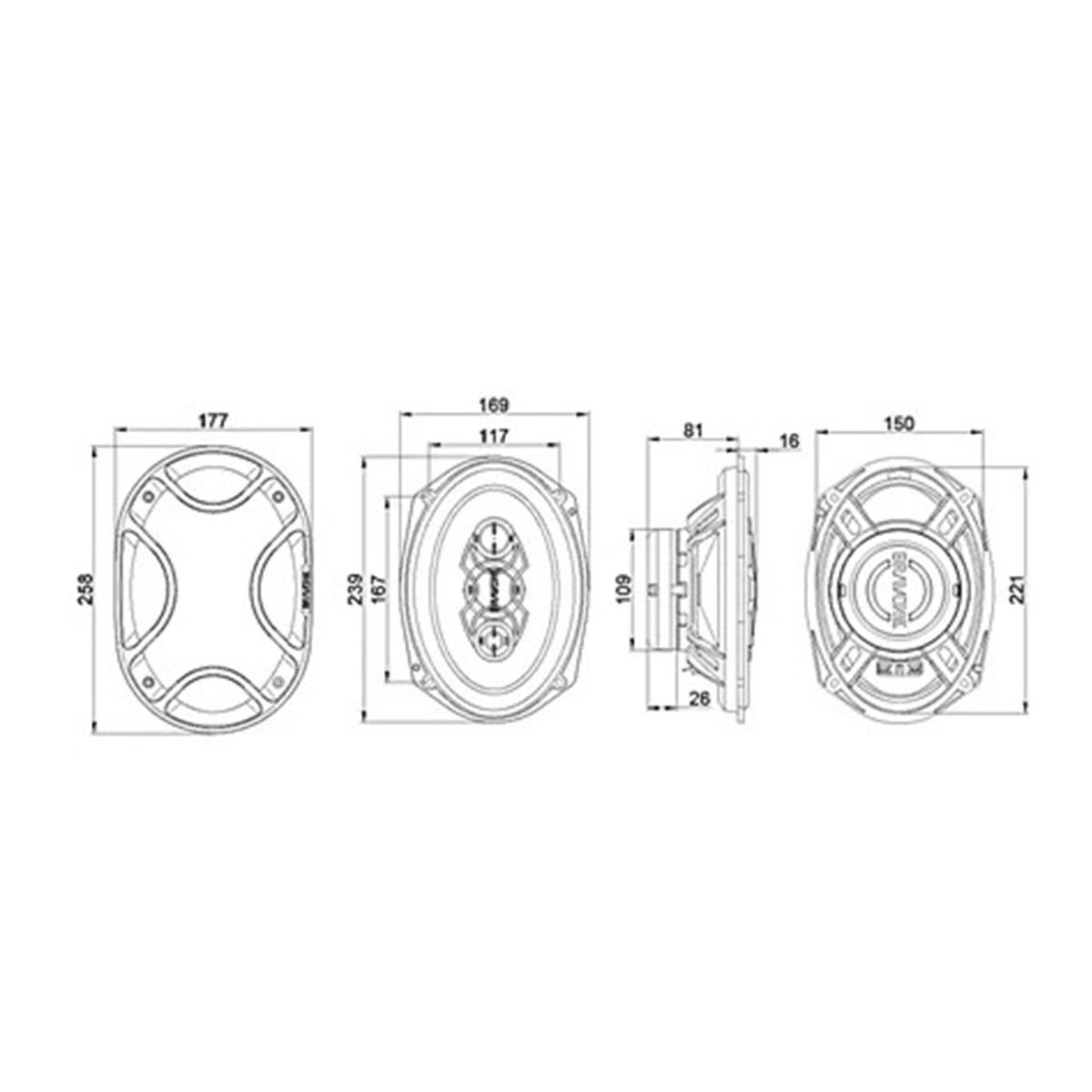 "Alto Falante Kit Fácil Bravox Triaxial 6""e 6x9"" Quadriaxial 240 WRMS"