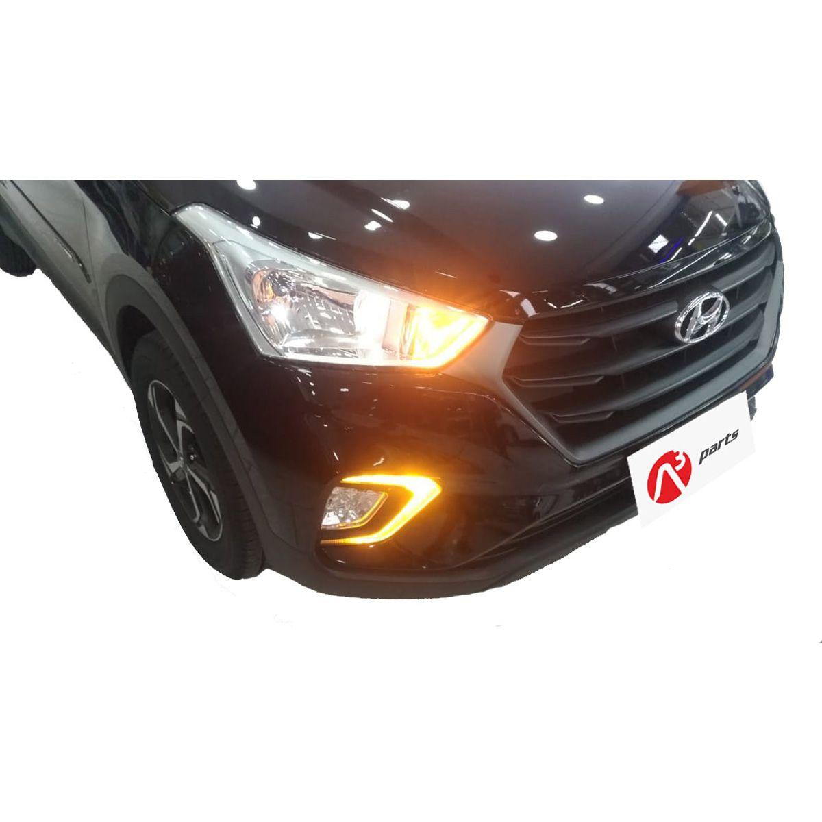 Kit Farol Auxiliar Hyundai Creta 2020 em diante C/ DRL LED e Botão Original - FGS1305HY