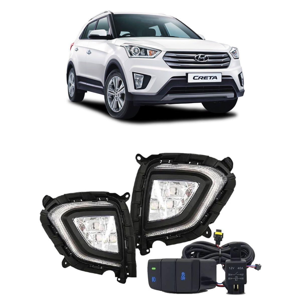 Kit Farol Auxiliar Hyundai Creta 2020 em diante C/ DRL LED e Botão Original SS-HY-004
