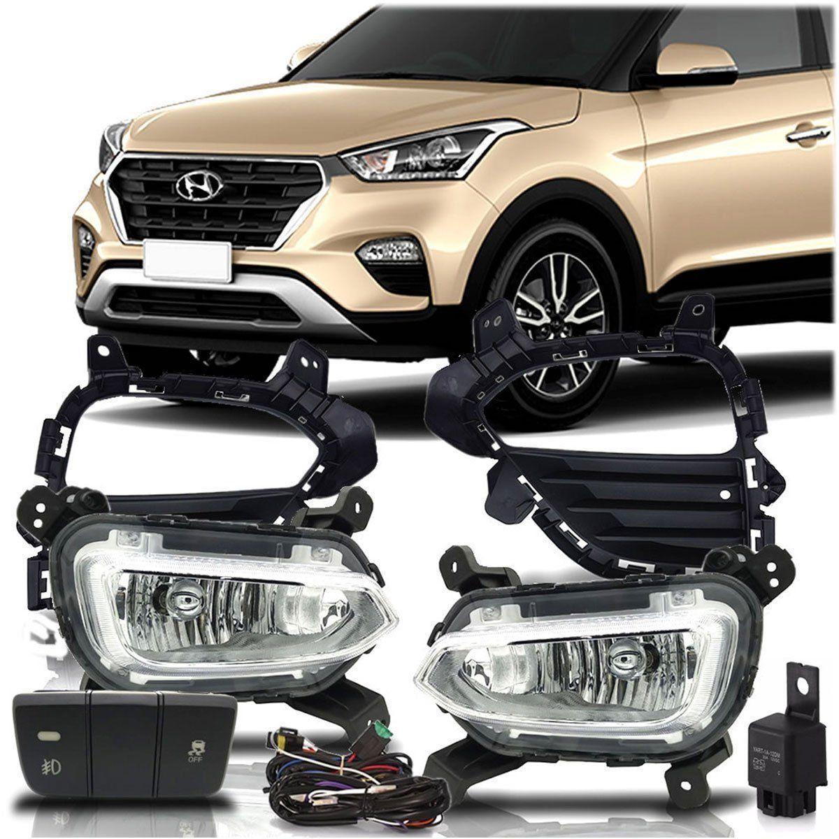 Kit Farol de Milha Hyundai Creta 2017 e 2018 Neblina Botão Original