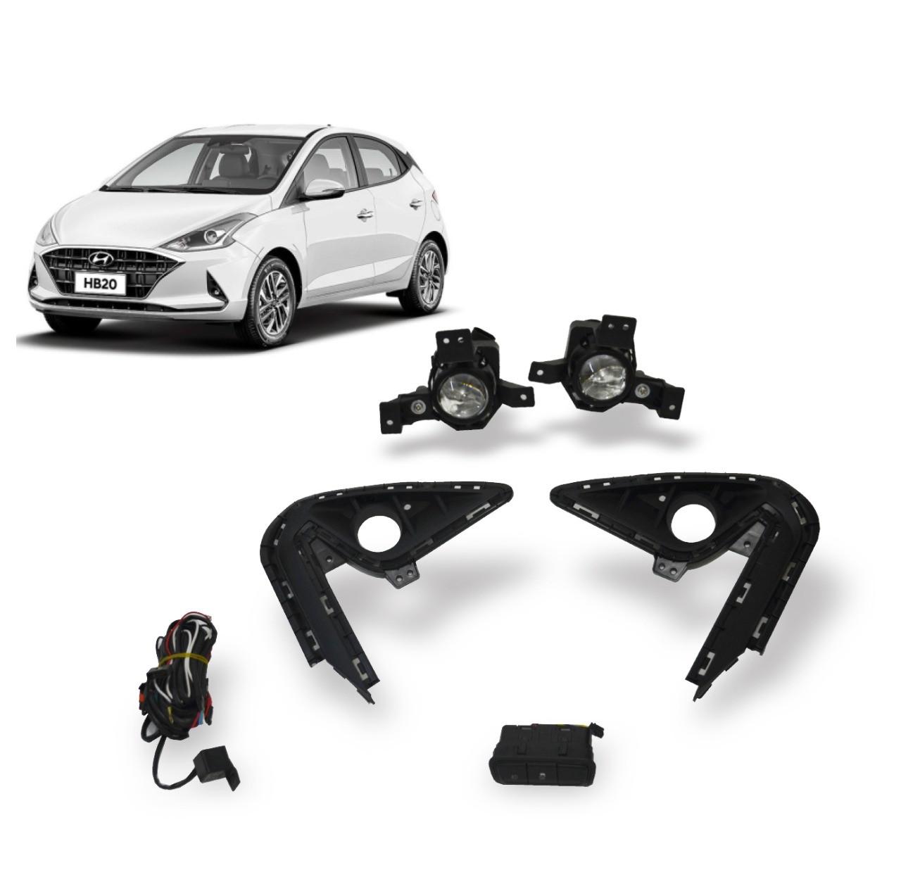Kit Farol de Milha Hyundai HB20 2020 em diante com Botão Original