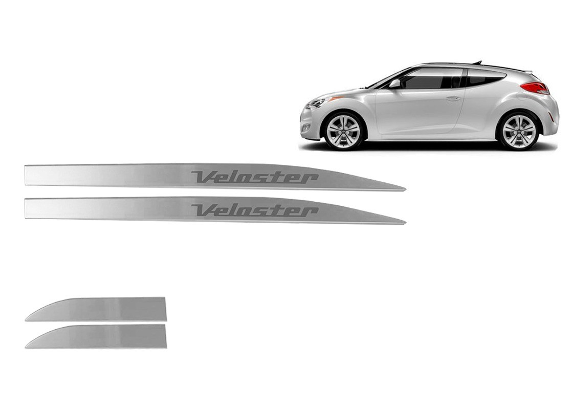 Kit Friso Lateral Hyundai Veloster Prata Personalizado Prata