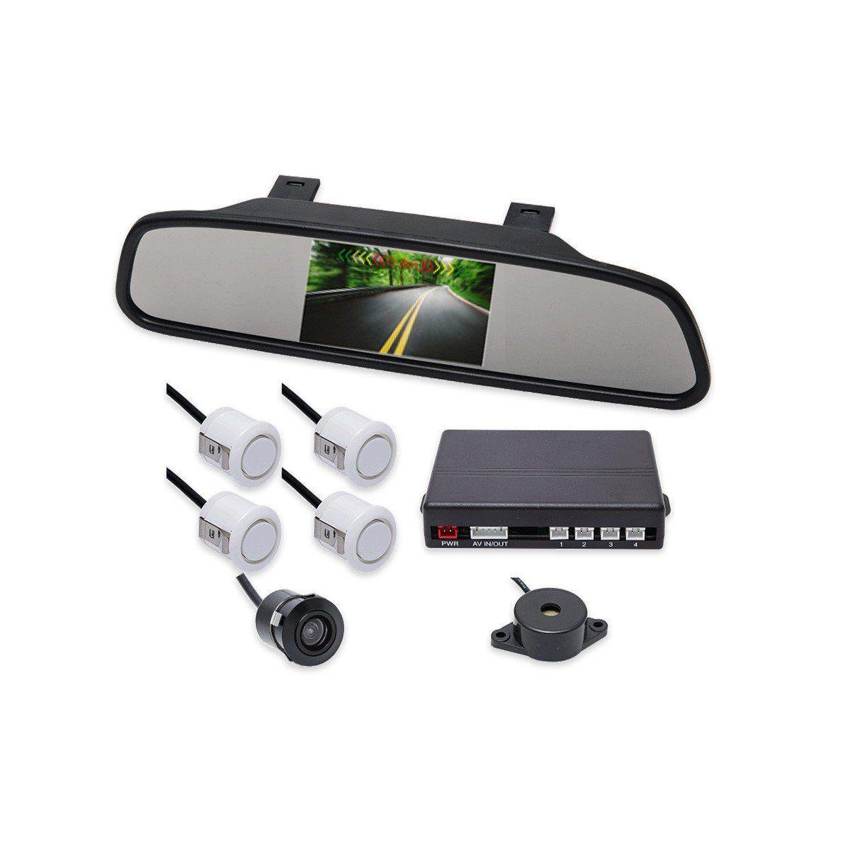 Kit Sensor de Estacionamento Retrovisor LCD Camera Ré Branco