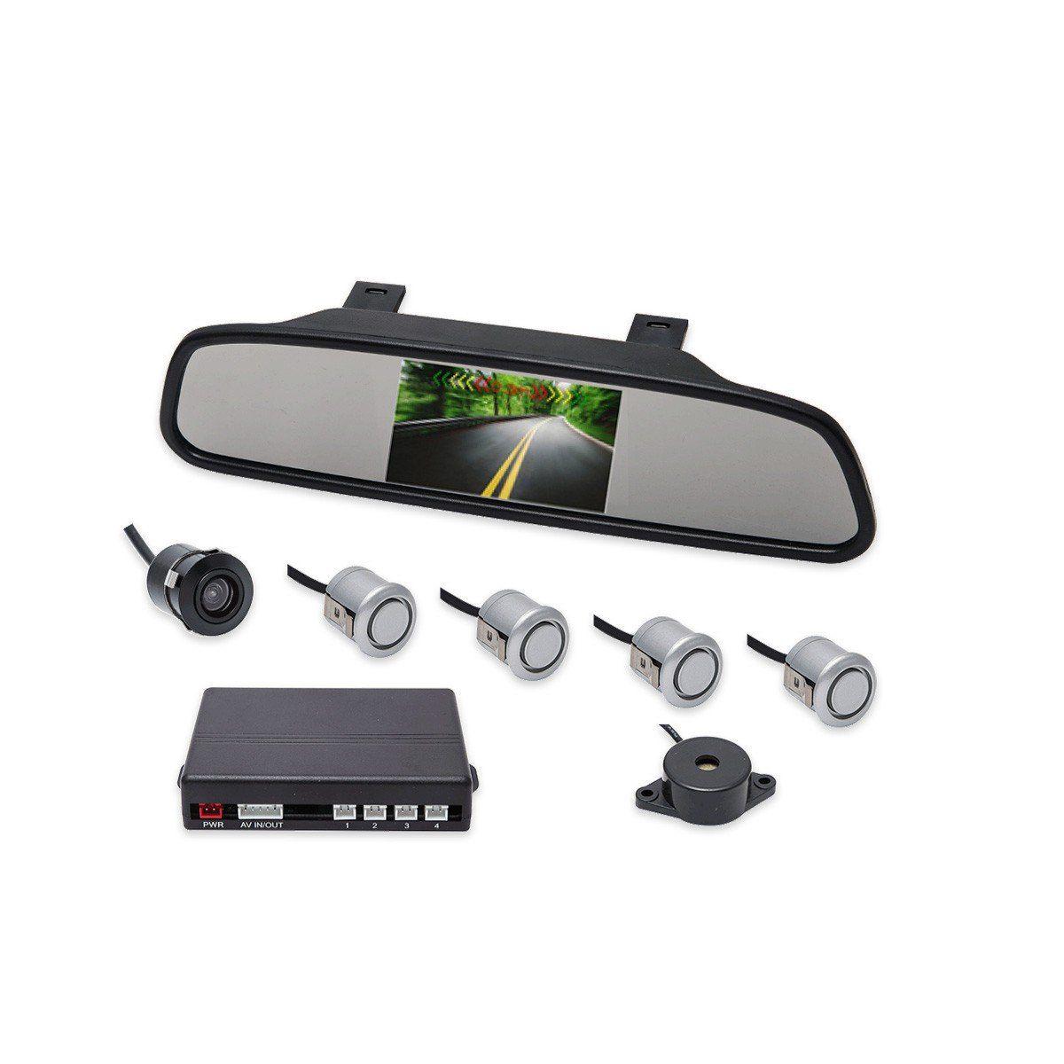 Kit Sensor De Estacionamento Retrovisor LCD Camera Ré Prata