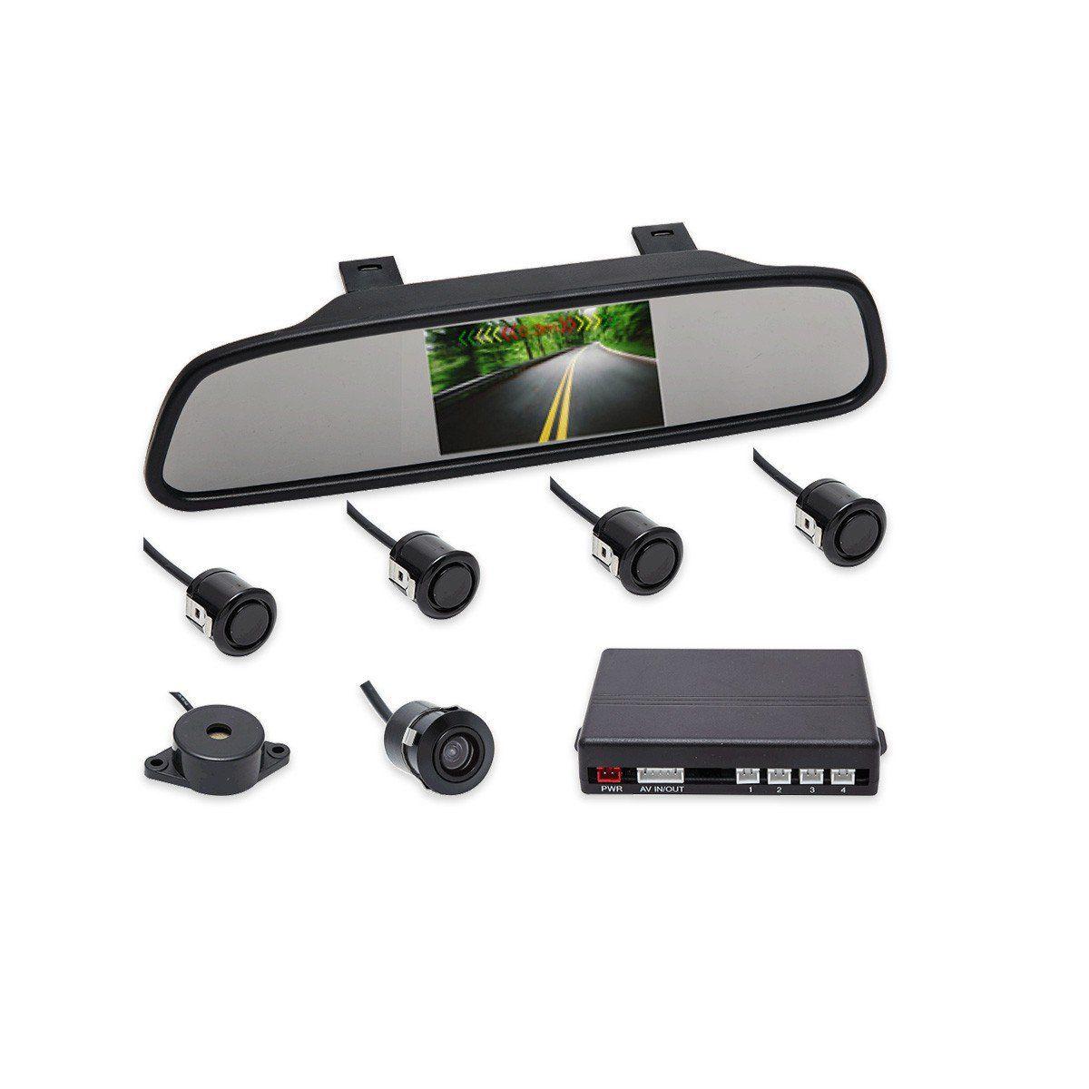 Kit Sensor De Estacionamento Retrovisor LCD Camera Ré Preto