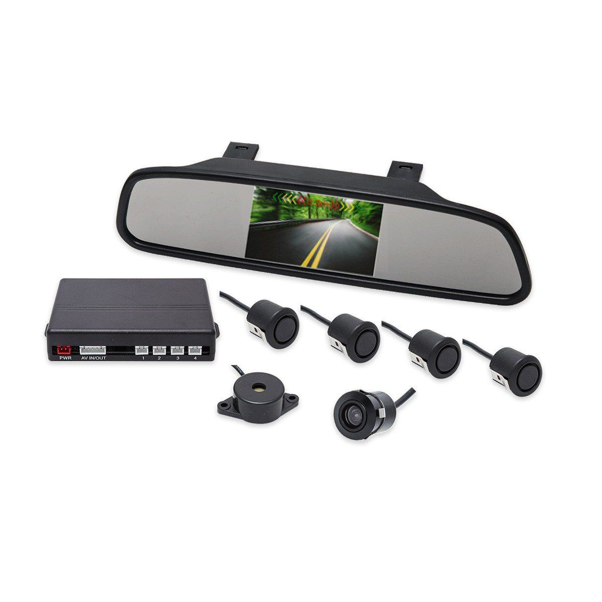 Kit Sensor de Estacionamento Retrovisor LCD Camera Ré Preto Fosco