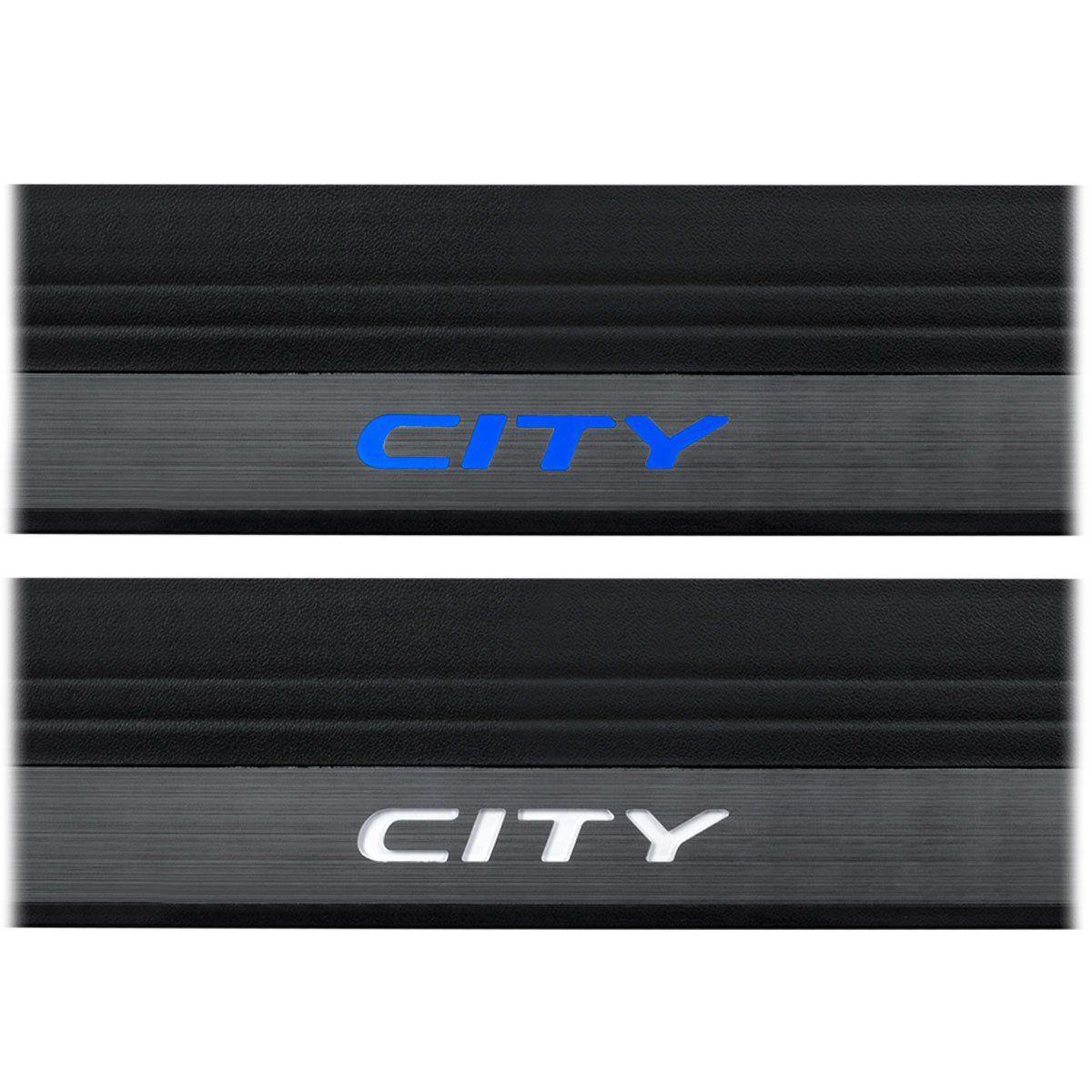 Kit Soleira de Porta Com LED Honda City 2015 em diante Inox Iluminada SOL005
