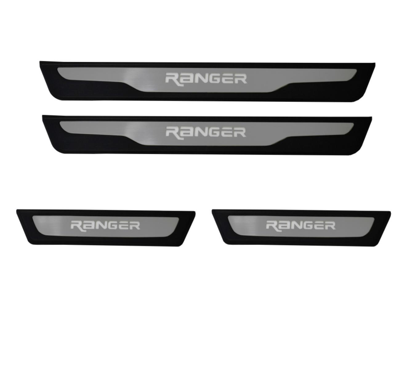 Kit Soleira de Porta C/ LED Ford Ranger Cabine Dupla  Inox Iluminada