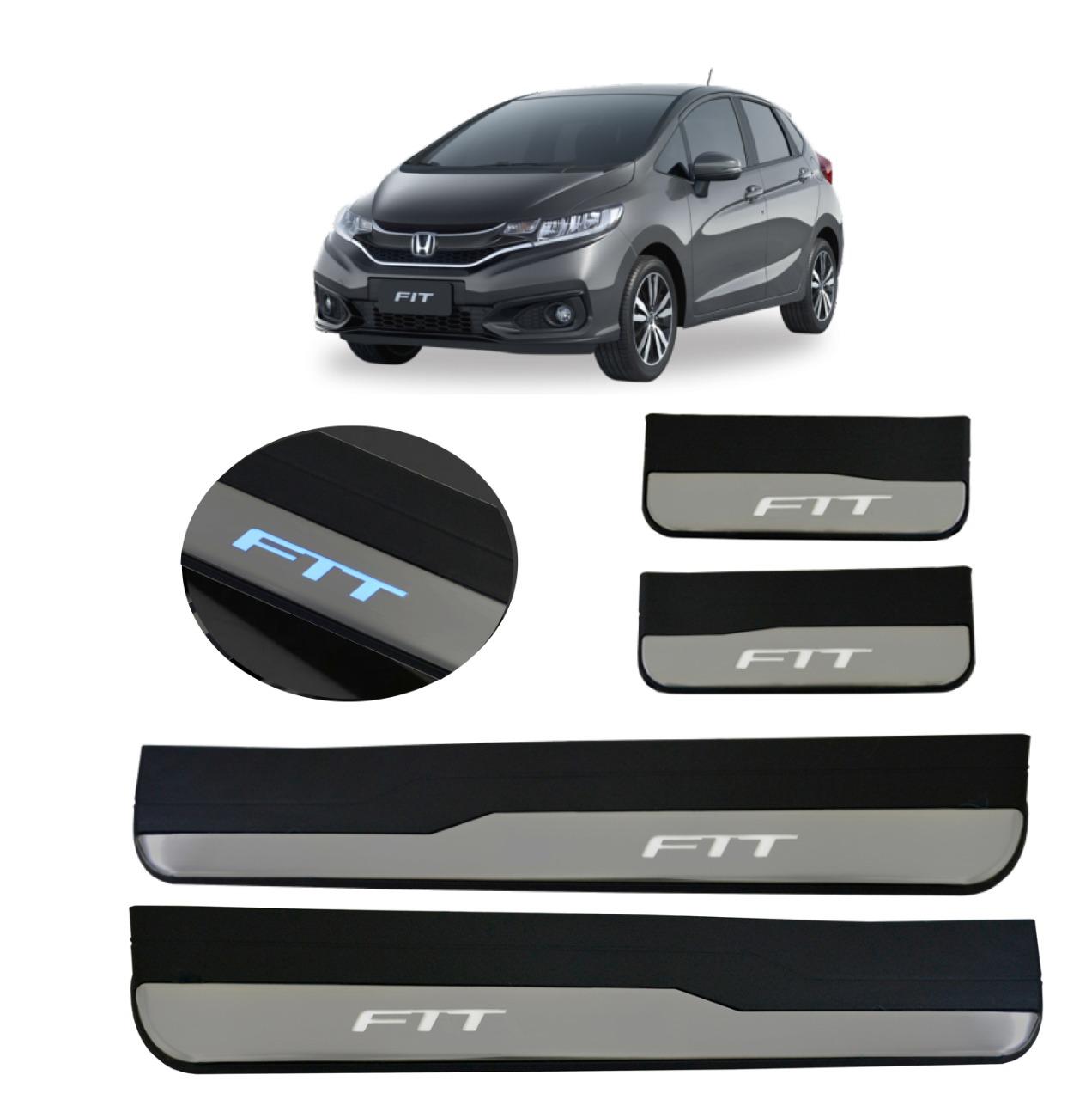 Kit Soleira de Porta C/ LED Honda FIT Inox Iluminada SLA872