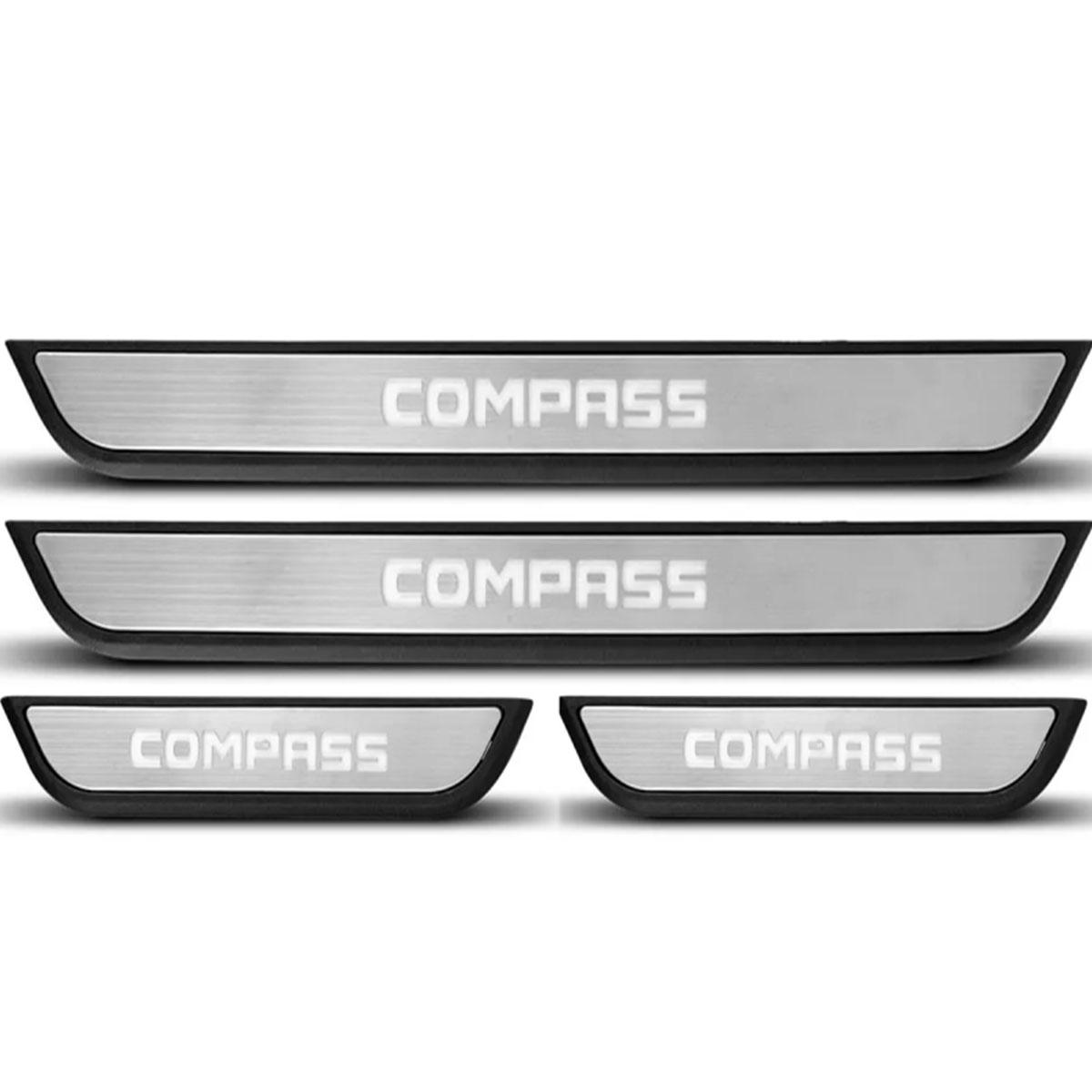 Kit Soleira de Porta C/ LED Jeep Compass Inox Iluminada