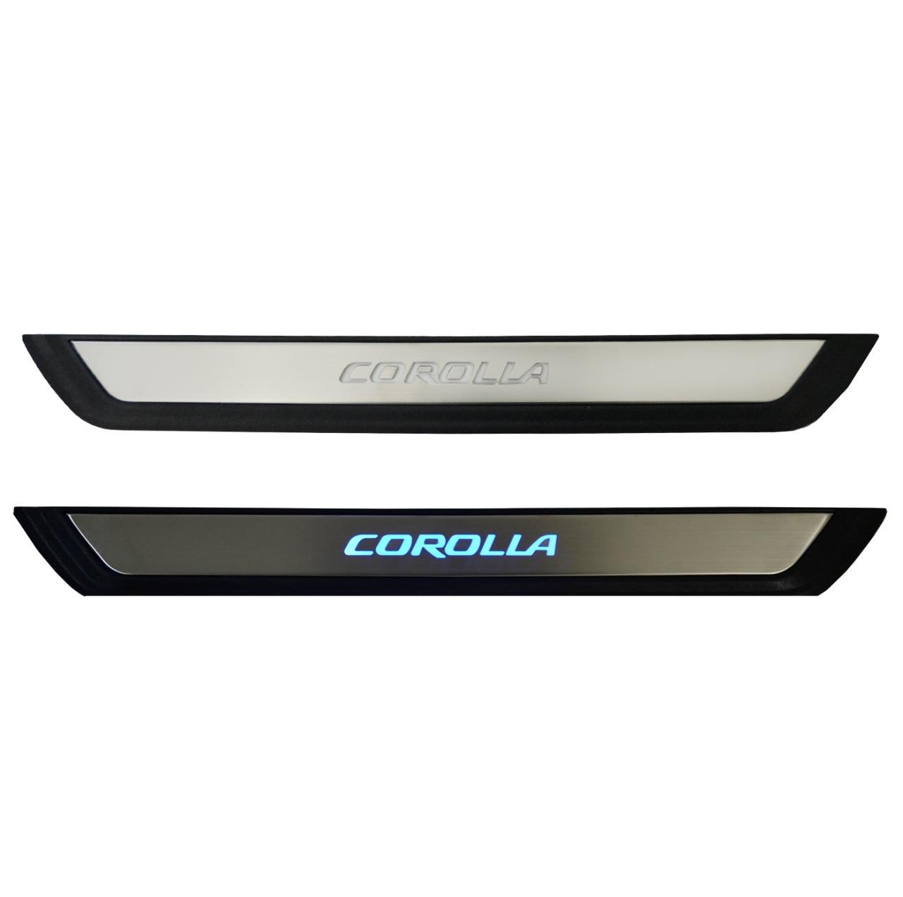 Kit Soleira de Porta C/ LED Toyota Corolla Inox Iluminada