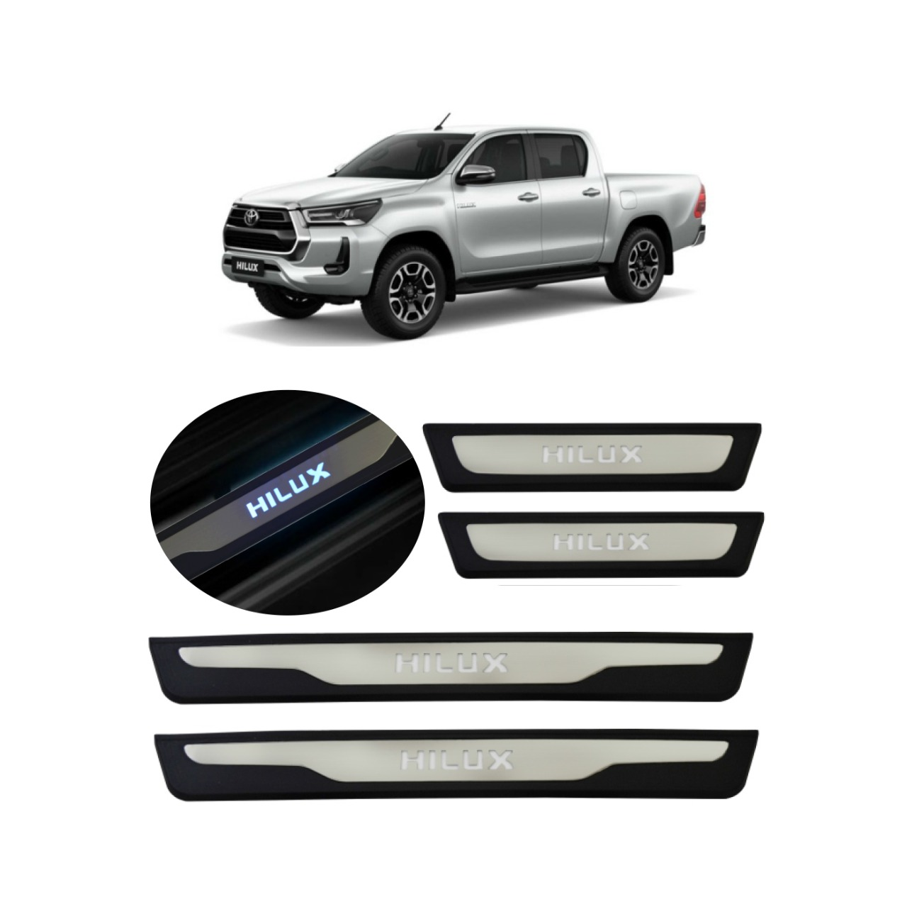 Kit Soleira de Porta C/ LED Toyota Hilux Cabine Dupla Inox Iluminada