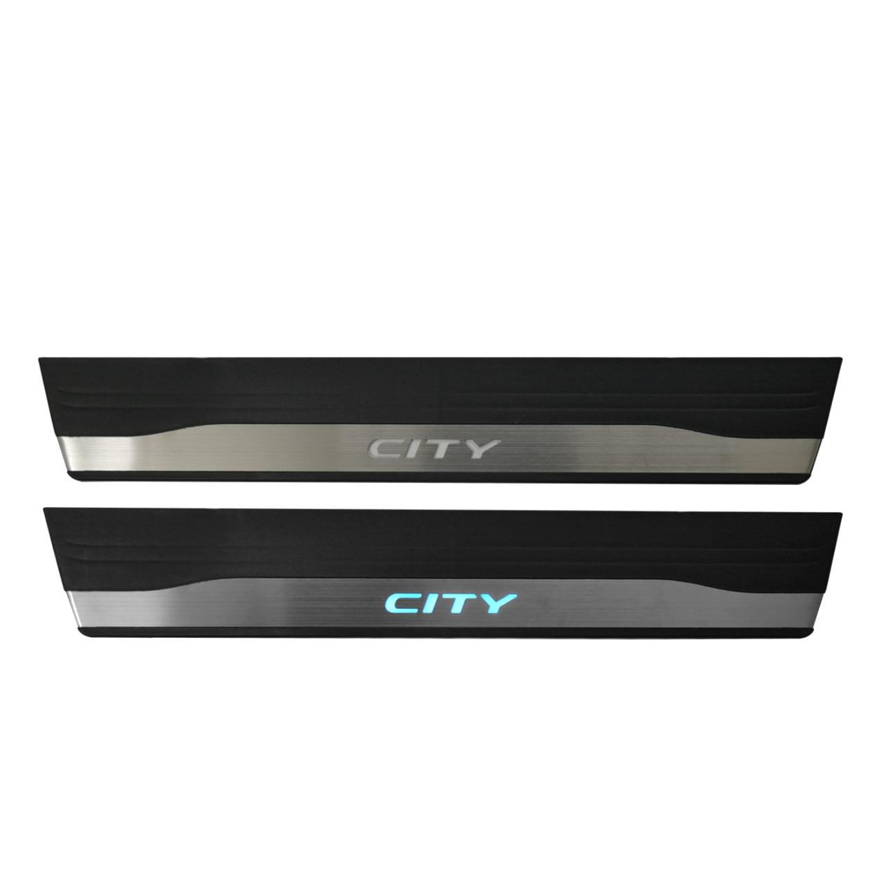 Kit Soleira de Porta Com LED City 2015 em diante Inox Iluminada SLA873