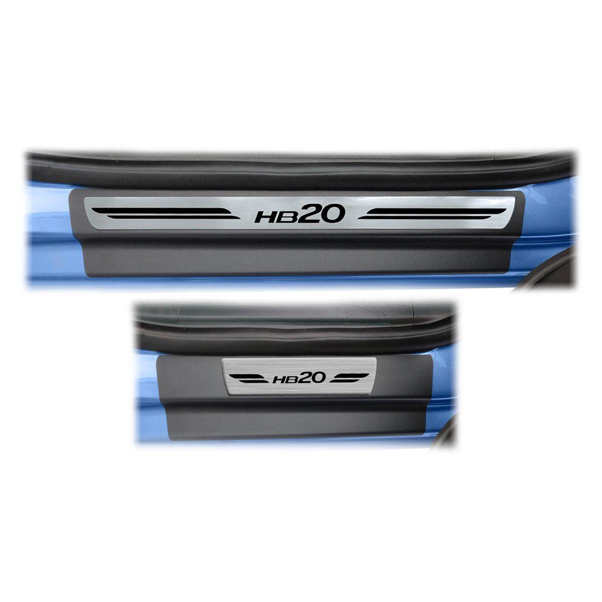 Soleira Porta HB20 Hatch Resinada Premium Aço Escovado