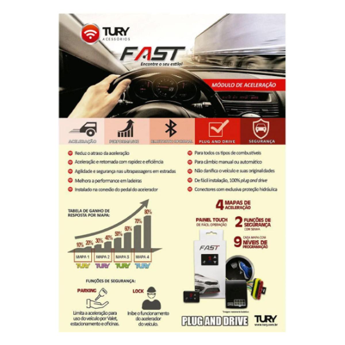 Chip Acelerador Eletrônico com Bluetooth Pedal Delay Tury Fast FAST2.0T