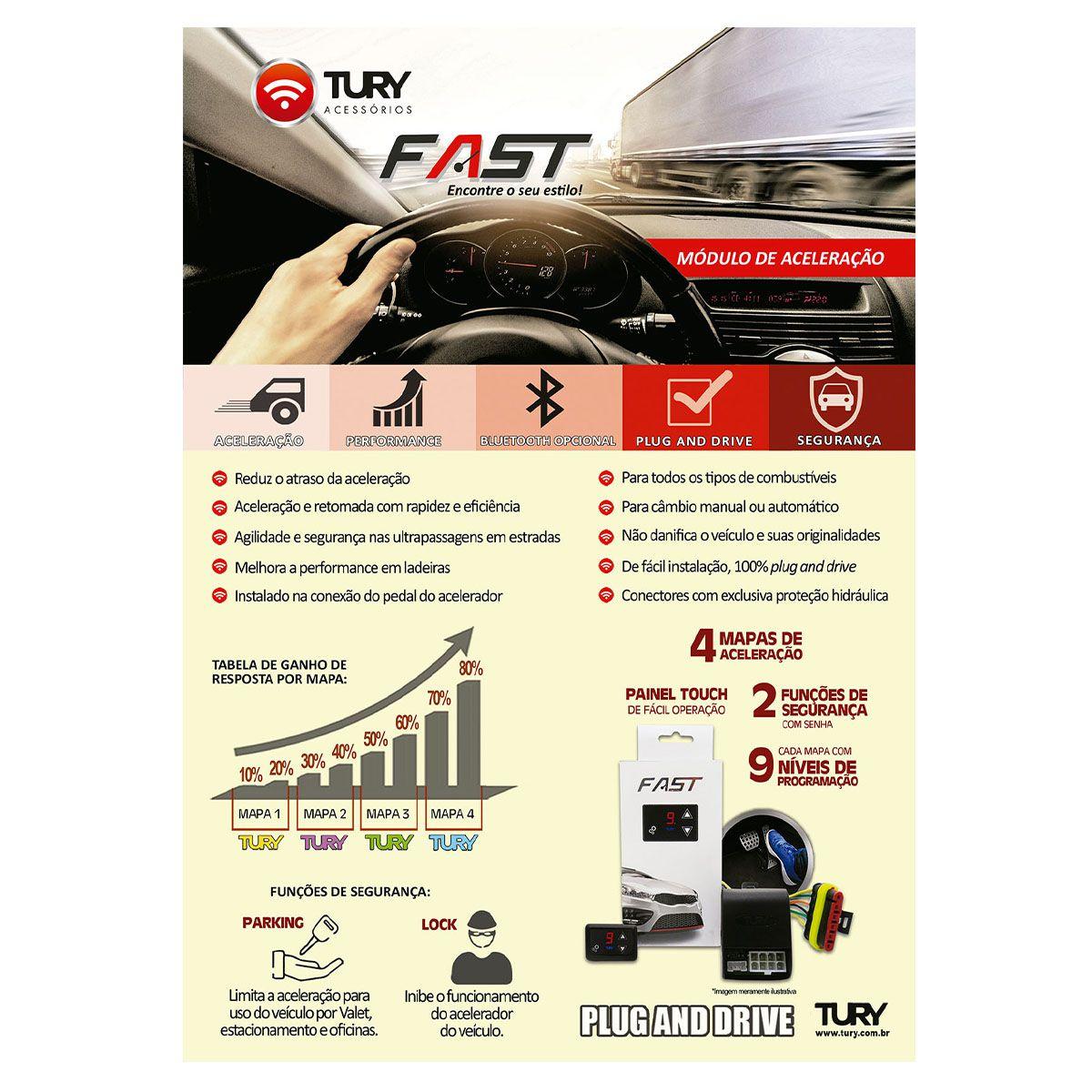 Módulo de Aceleração Tury para Fiat Jeep GM e Nissan FAST 1.0 B