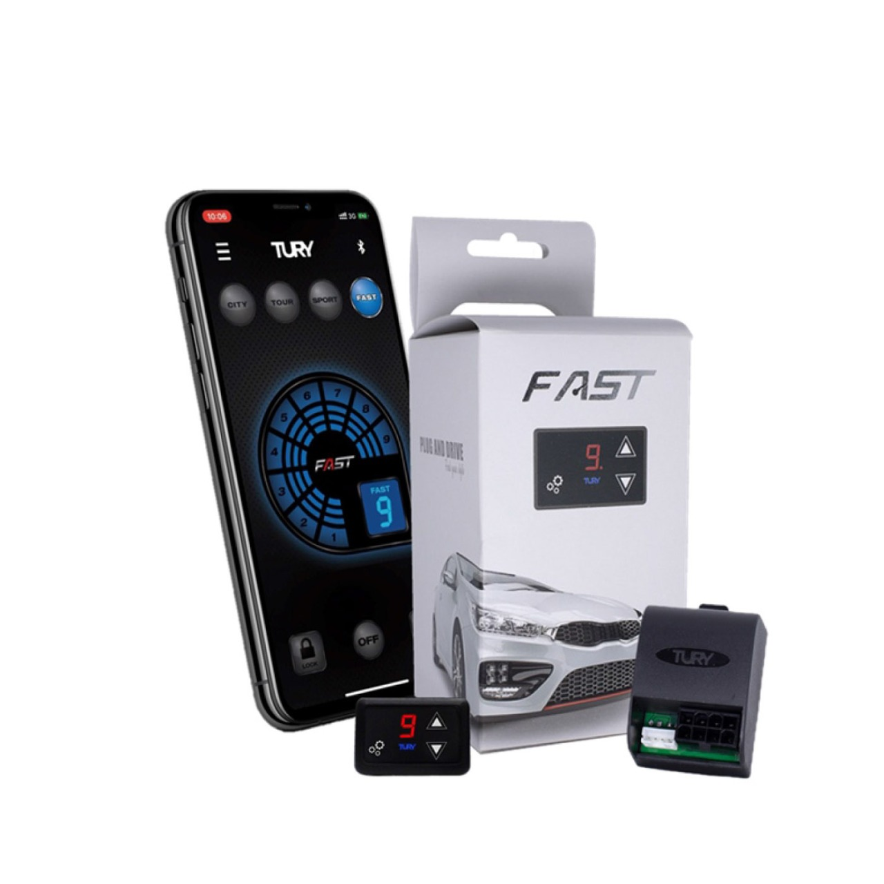 Módulo Acelerador Eletrônico para Ford Jeep Dodge Chrysler com Bluetooth FAST2.0H Tury