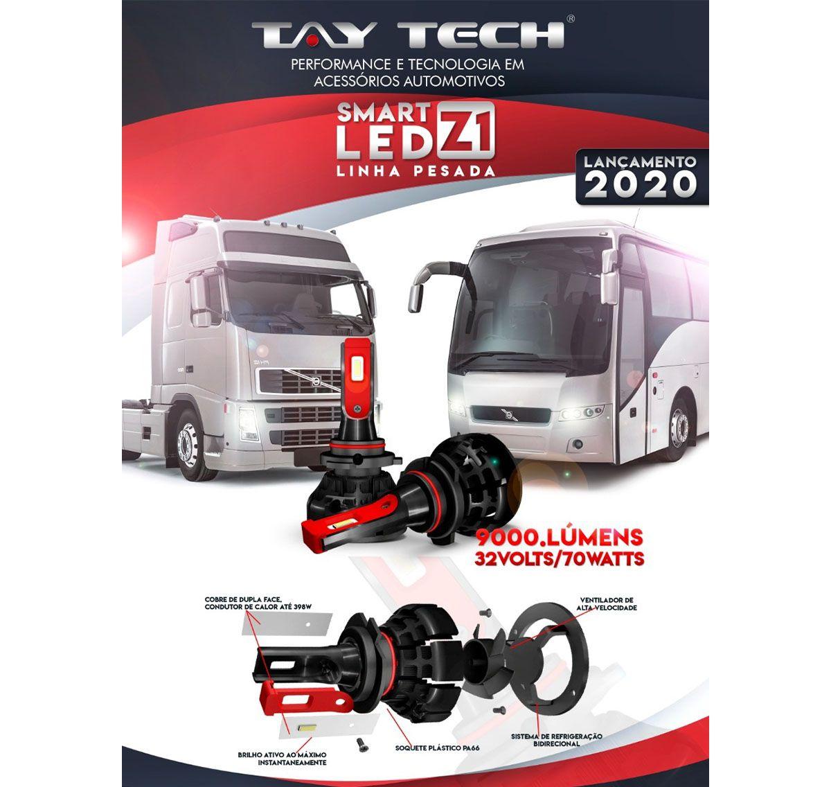 Par Lâmpadas Smart LED H4 6000K 70W Cooler Integrado Tay Tech