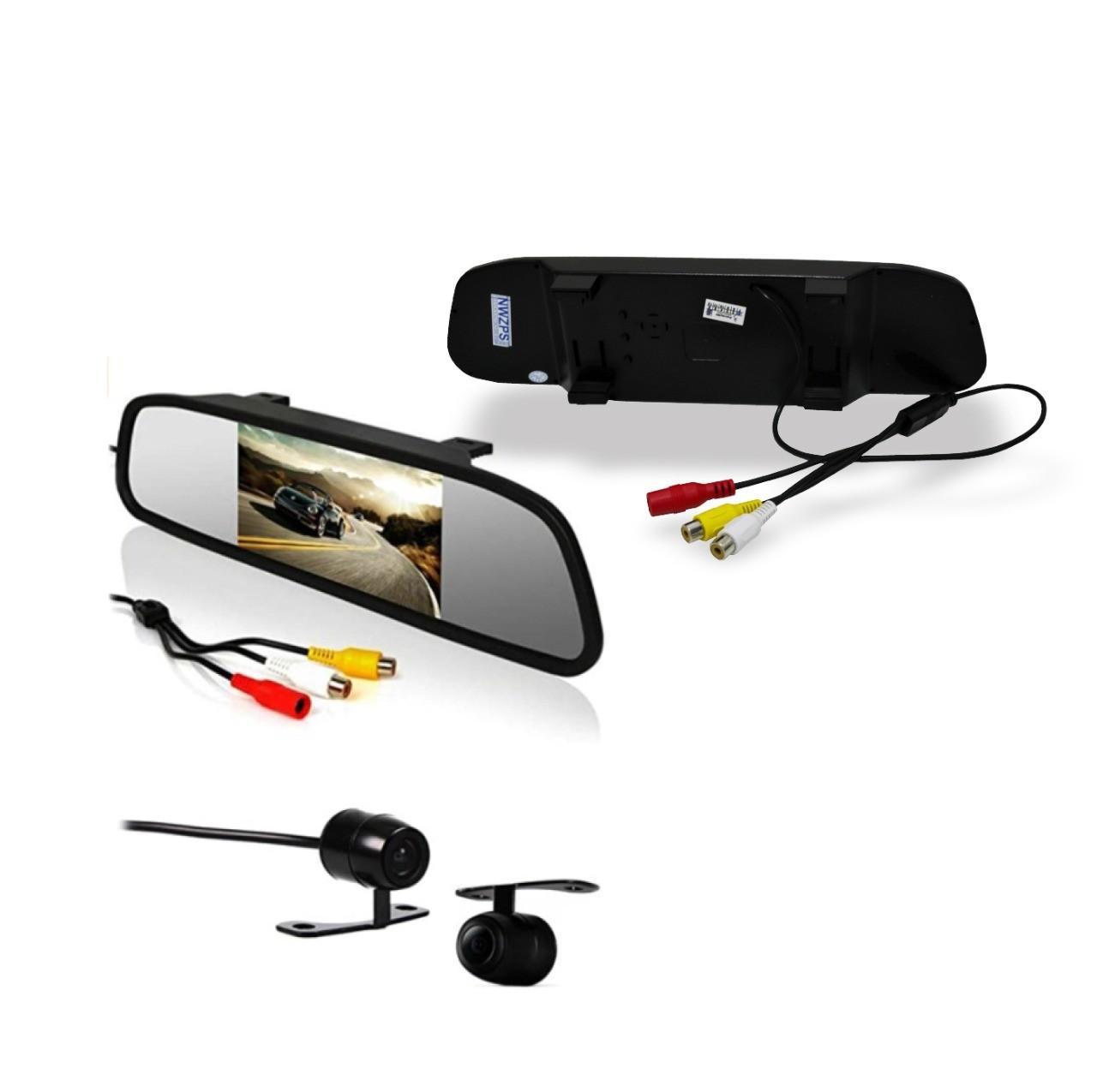 Retrovisor com Câmera LCD 2X1