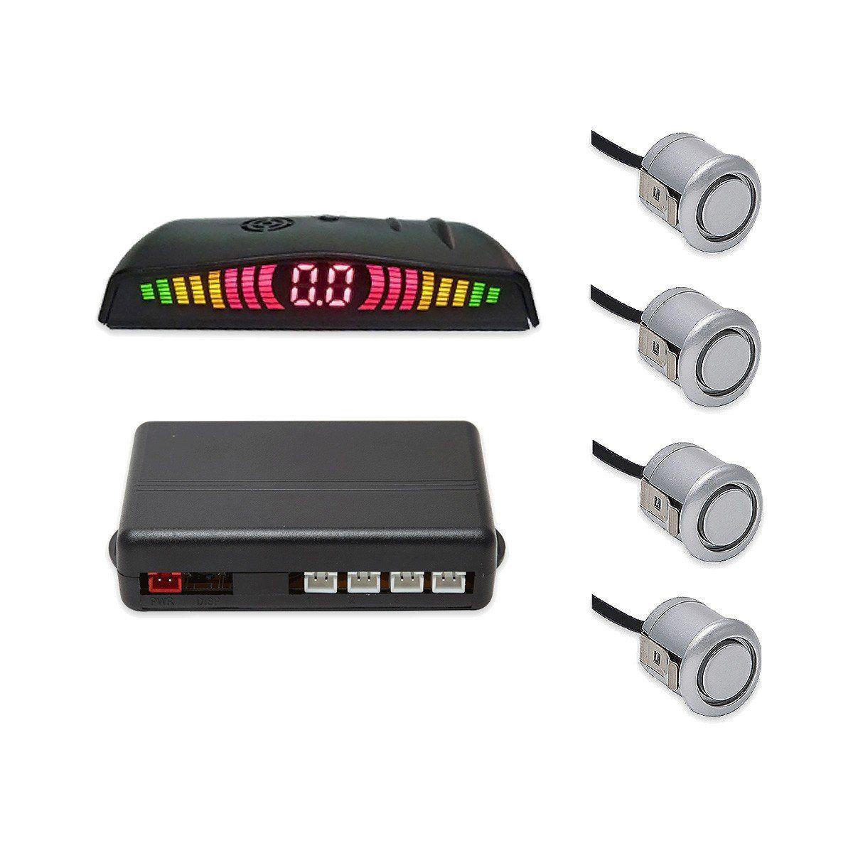 Sensor De Ré Estacionamento 4 Sensores Cromado Com Display