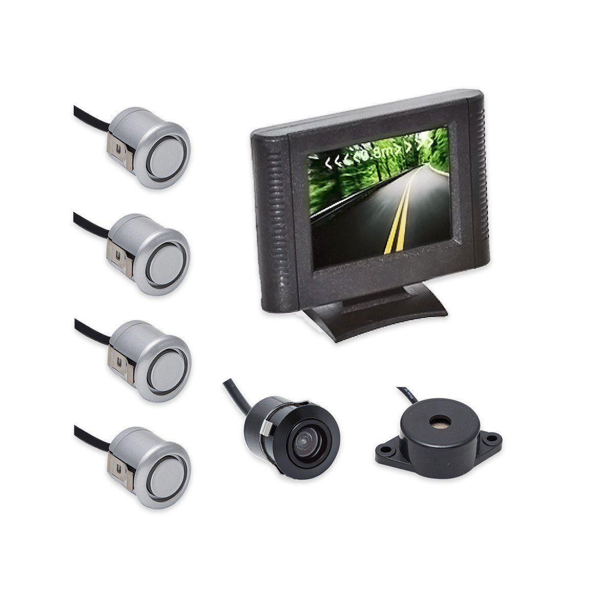 Sensor de Ré Estacionamento 4 Sensores Prata Display LCD