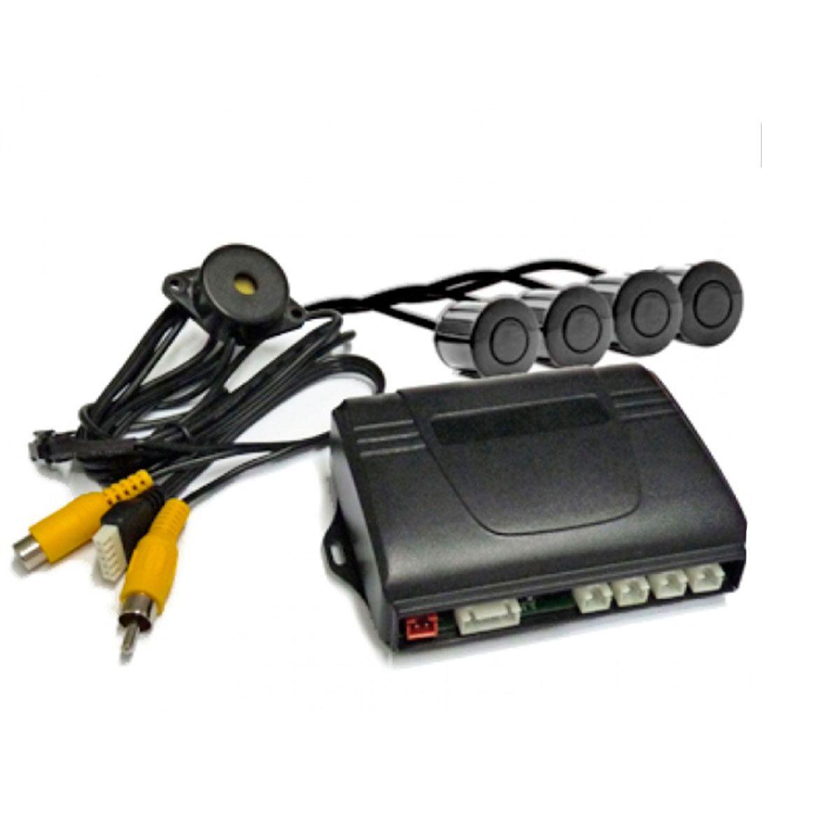 Sensor de Re Estacionamento 4 Sensores Prata para Central Multimidia OEM