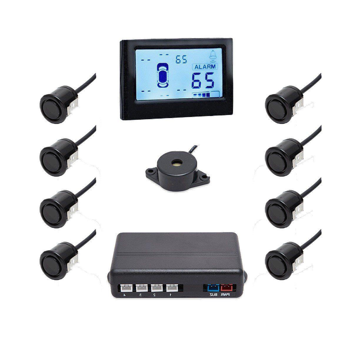 Sensor de Ré Estacionamento 8 Sensores Preto Com Display
